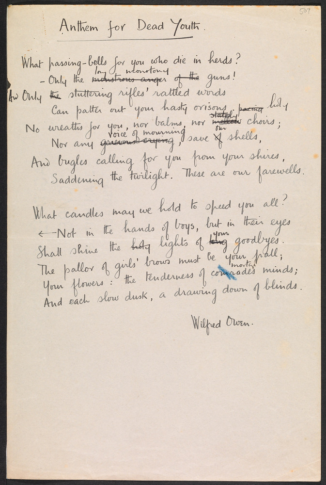 wilfred owens war poetry essay What does owen mean by the pity of war owen did not want to write poetry that glamorized war, or made it seem exciting and glorious, rife with opportunities for.