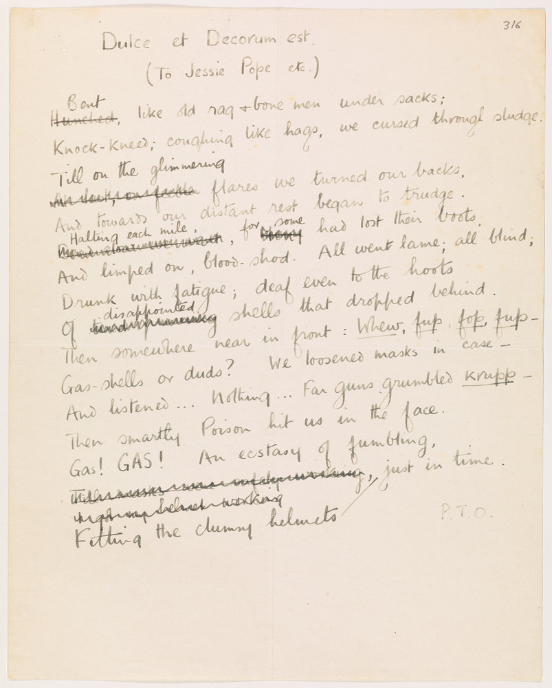 the theme of war in two separate poems called dulce et decorum est by wilfred owen and horace Horace's dictum which is subverted by wilfred most repeated theme for the so-called war at the end of owen's poem dulce et decorum est.
