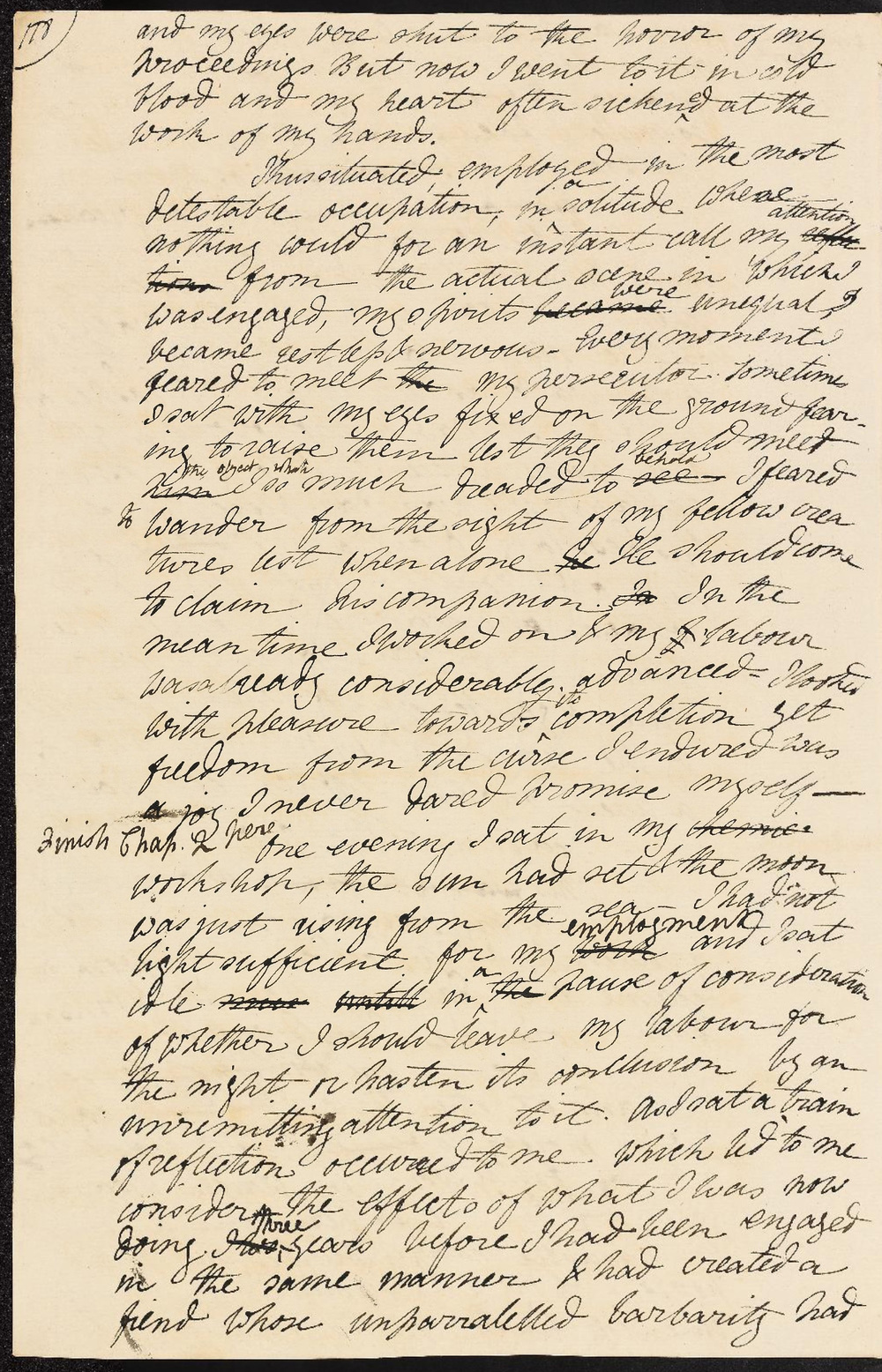 Mary Shelley, Frankenstein: autograph working draft