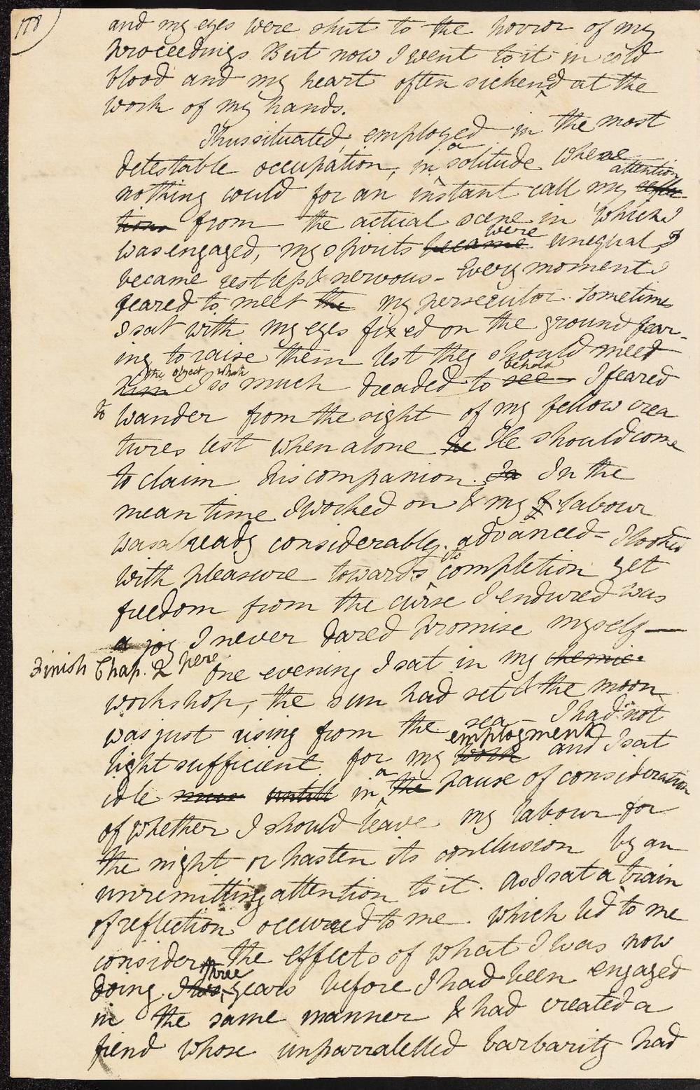 Mary Shelley, Frankenstein: autograph working draft