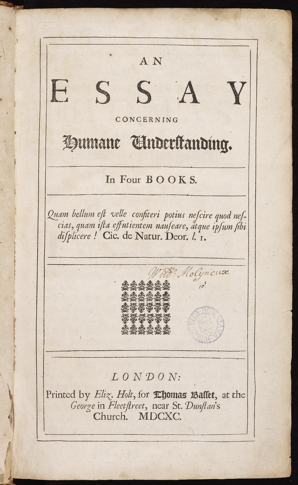 John Locke, An essay concerning humane understanding