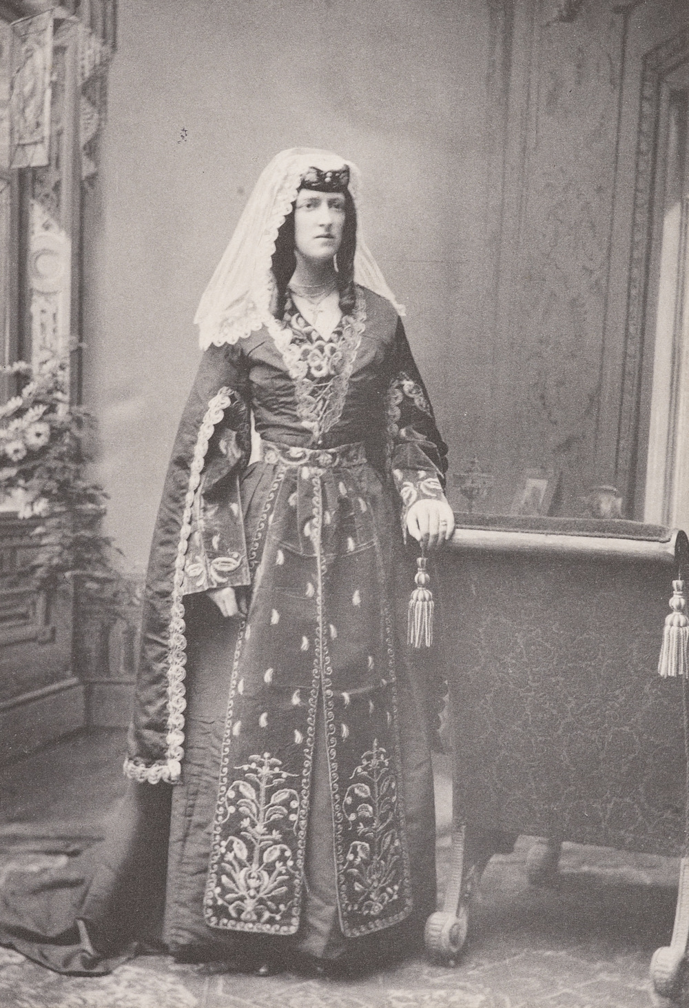 Photograph of Marjory Wardrop in Georgian national dress, 1896