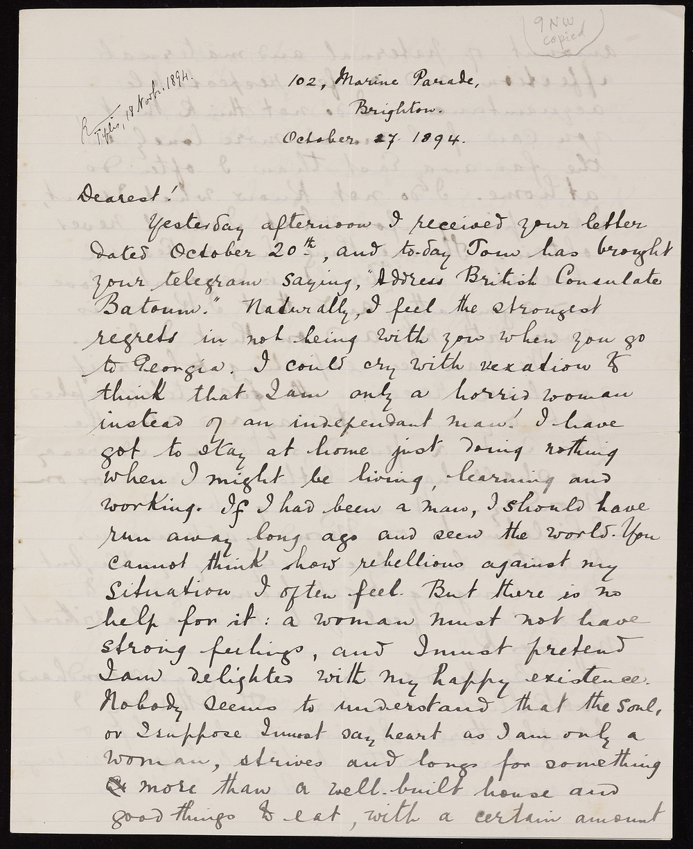 Letter from Marjory Scott Wardrop to her brother, Sir Oliver Wardrop, 27 October 1894