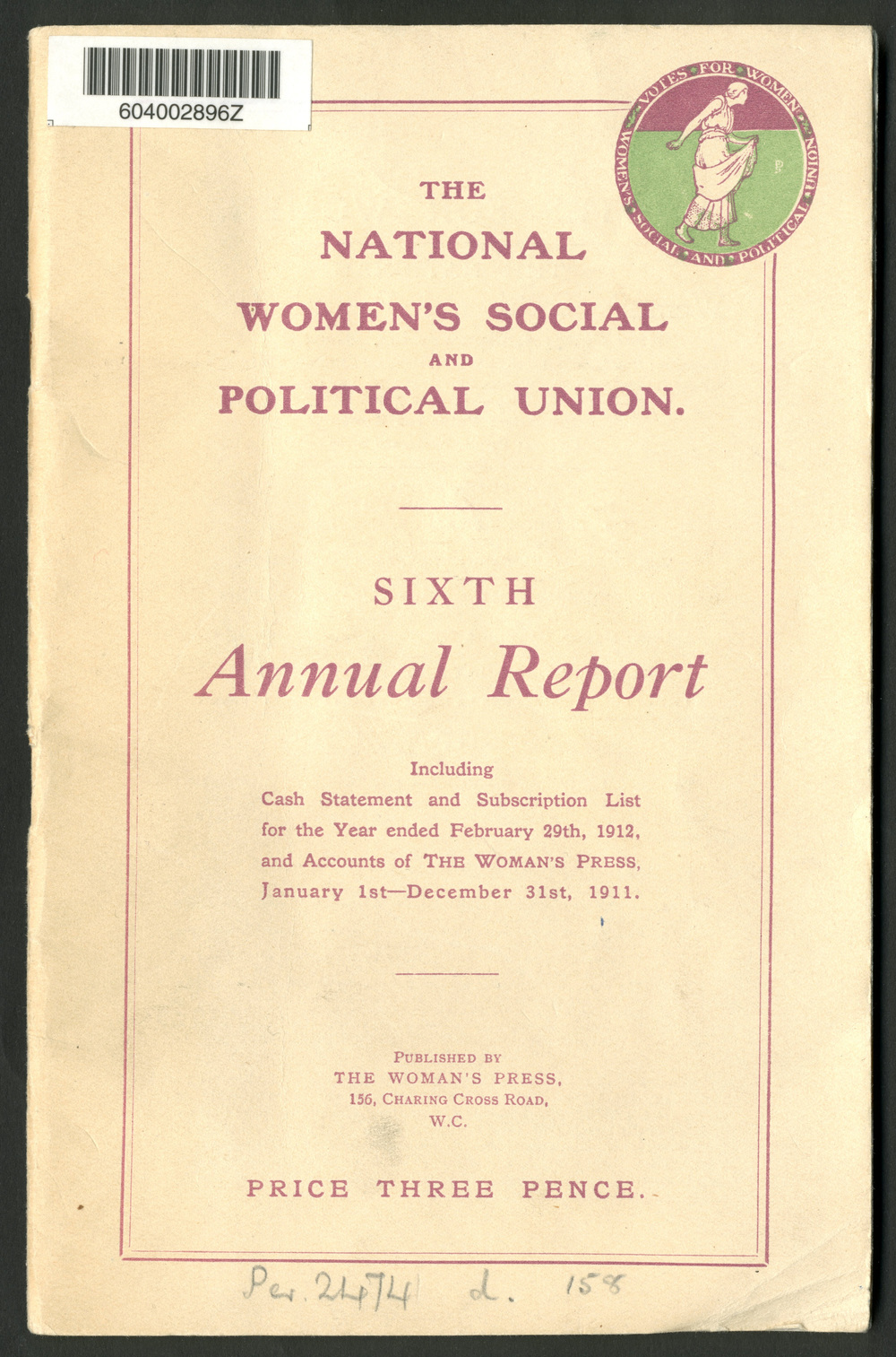 The National Women's Social and Political Union, sixth annual report