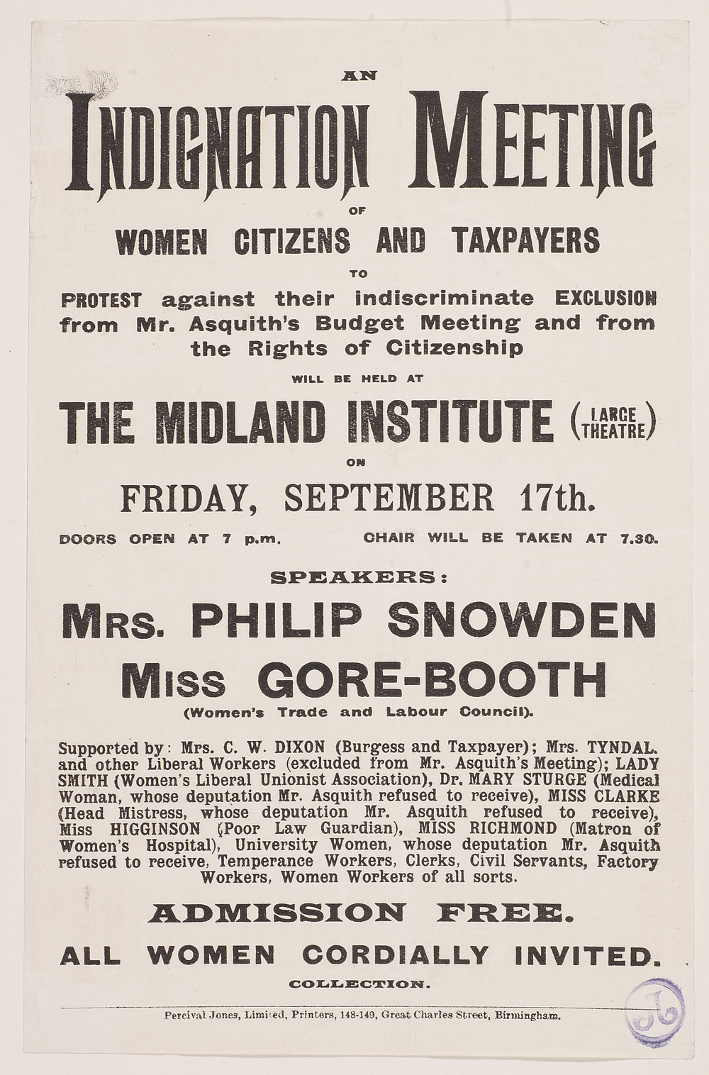 Pamphlet, An Indignation Meeting, 17 September 1909