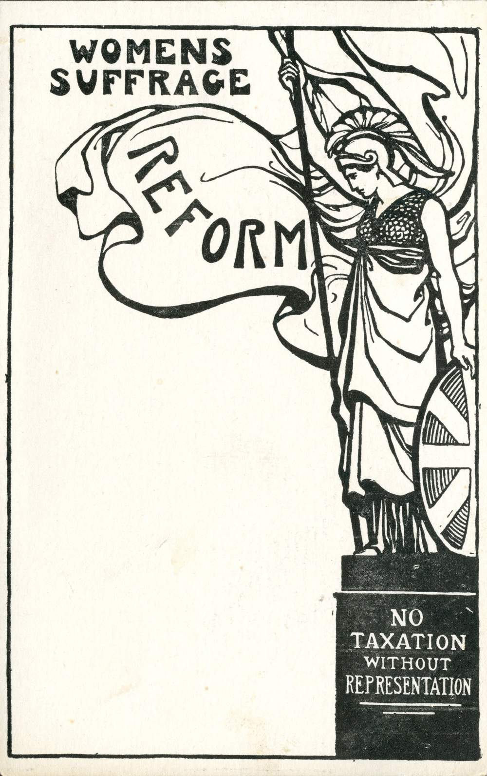 Postcard, Britannia, women's suffrage reform, no taxation without representation, 1911–12