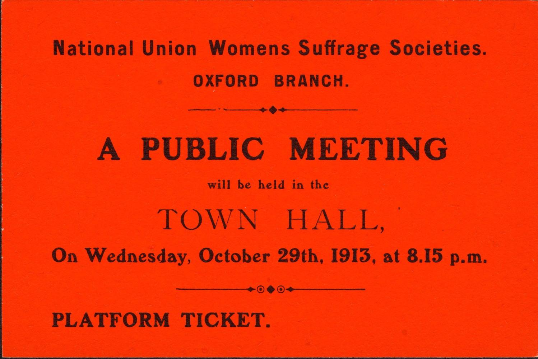 Ticket, NUWSS, Oxford Branch, 29 October 1913