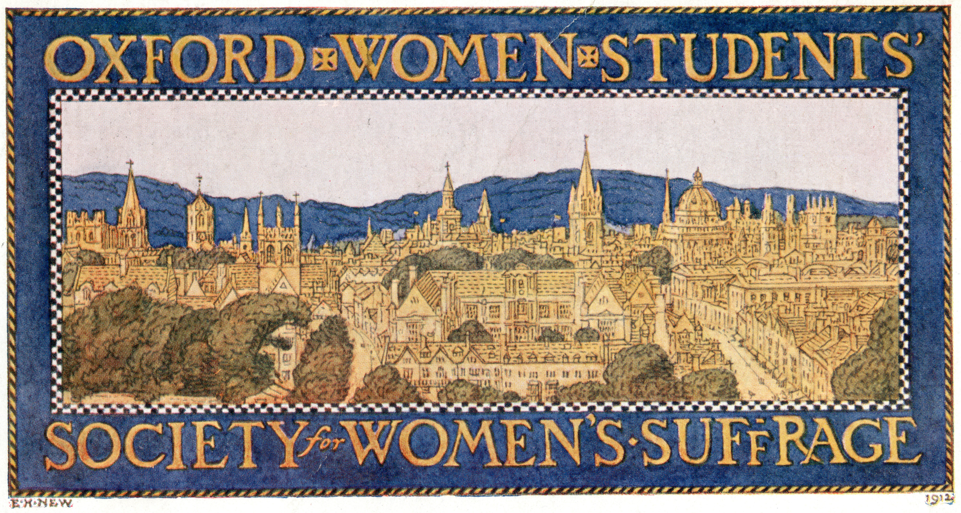 Postcard, Oxford Women Students Society for Women's Suffrage, c. 1912