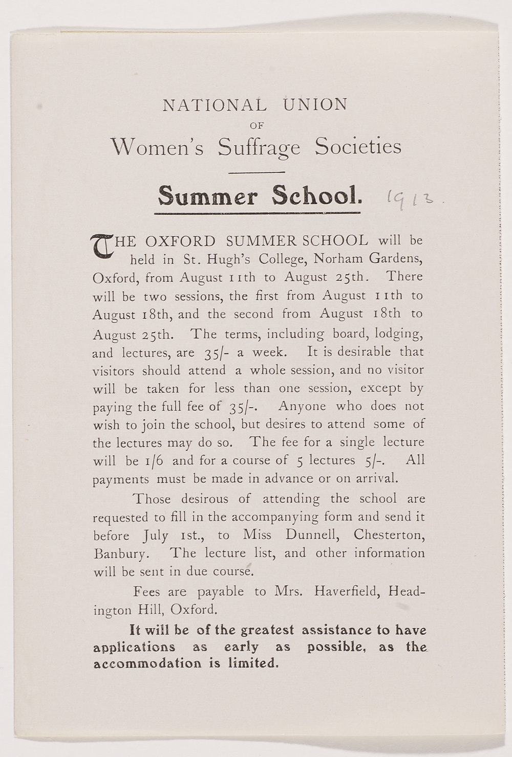 Leaflet, National Union of Women's Suffrage Societies (NUWSS) Summer School (1913)