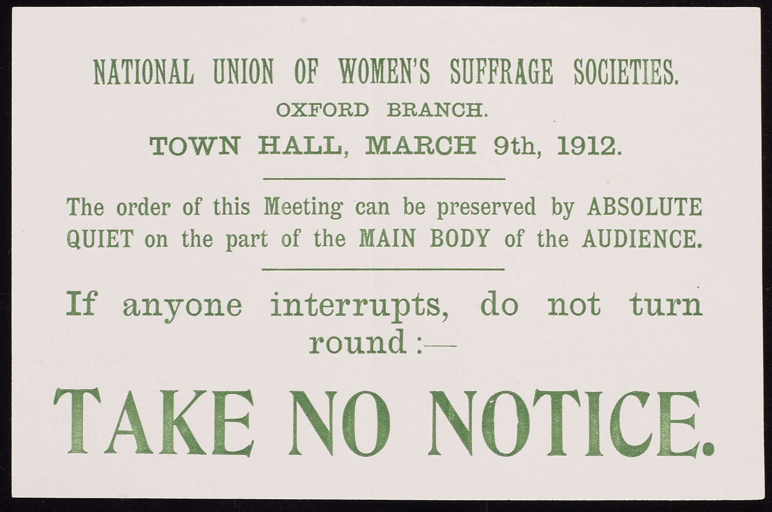 Leaflet, Take No Notice, (NUWSS), Oxford Branch, 9 March 1912