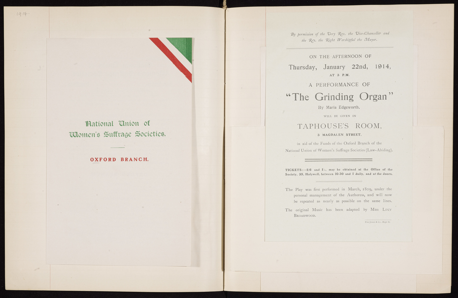 Diary, Oxford Women's Suffrage Society, Executive Committee for 1914