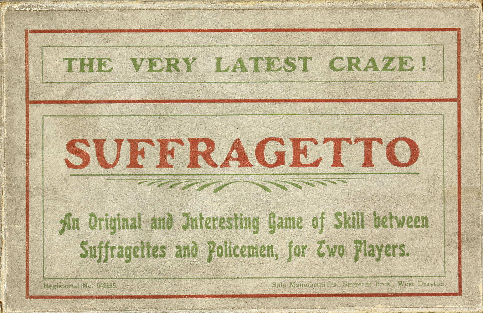 Board game, Suffragetto, produced by the WSPU, 1907–8