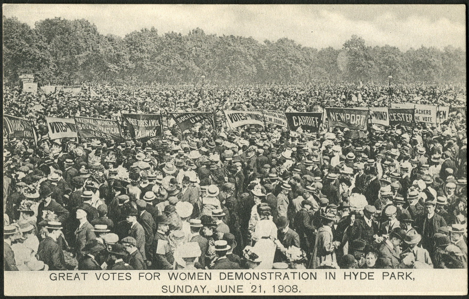 Postcard, Great Votes for Women demonstration in Hyde Park. Sunday 21 June 1908