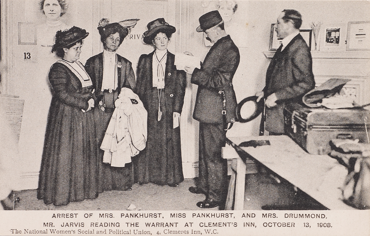 Postcard, Arrest of Mrs Pankhurst, Miss Pankhurst and Mrs Drummond, 13 October 1908