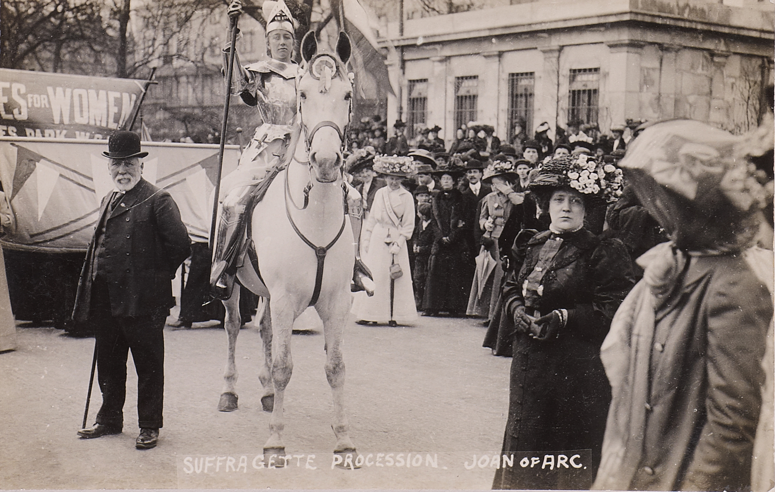 Postcard, Suffragette procession, Joan of Arc. c. 1910