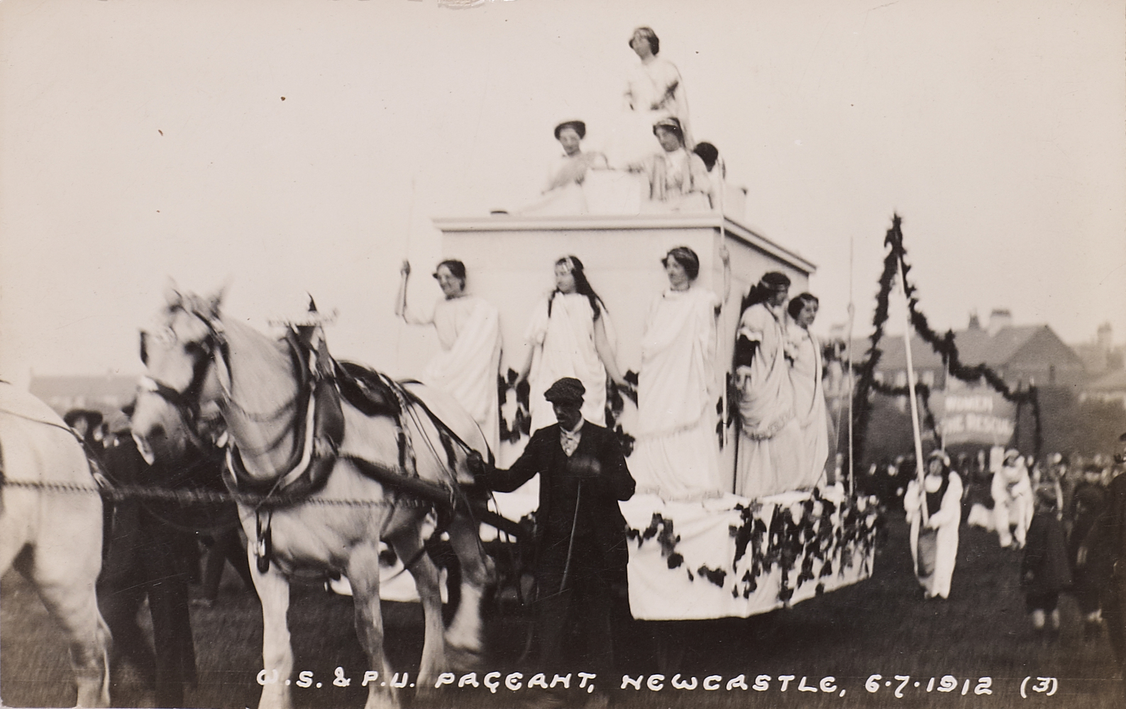 Postcard, WSPU Pageant, Newcastle 6 July 1912