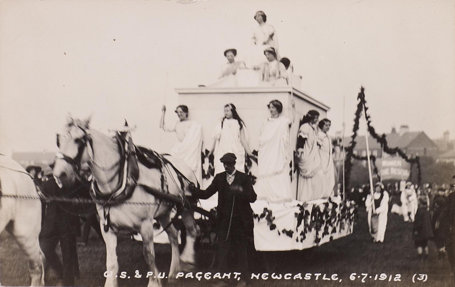 Postcard, WSPU Pageant, Newcastle 6 July 1912