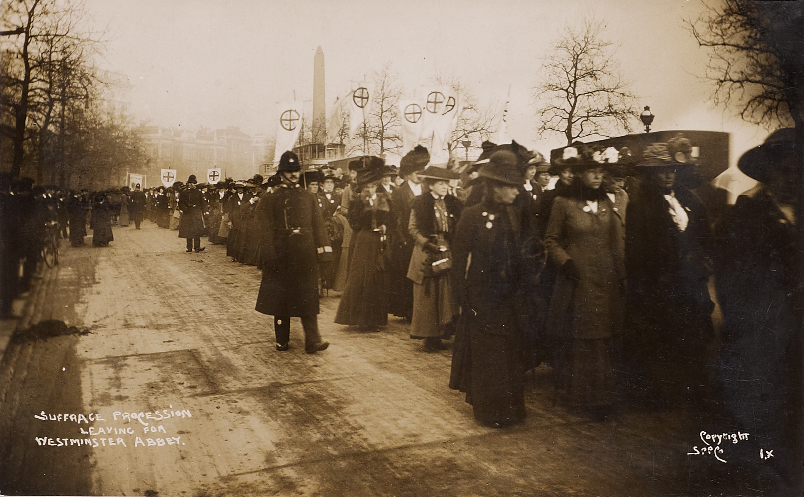 Postcard, Suffrage procession leaving for Westminster Abbey, 14 November 1910