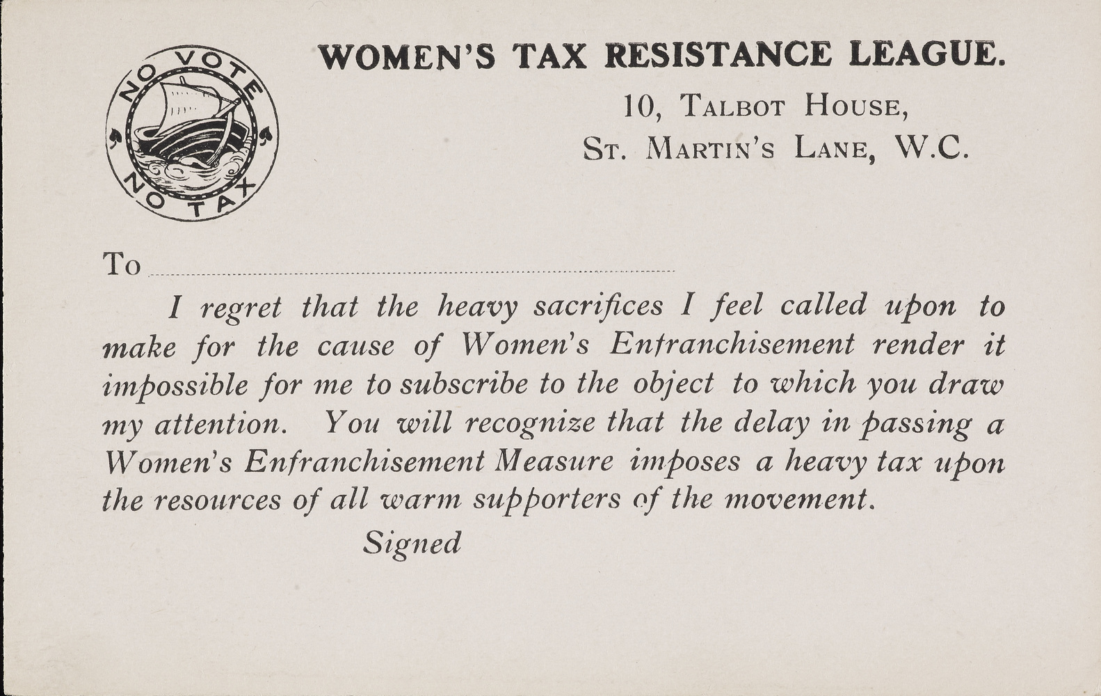 Postcard, Women's Tax Resistance League c. 1910