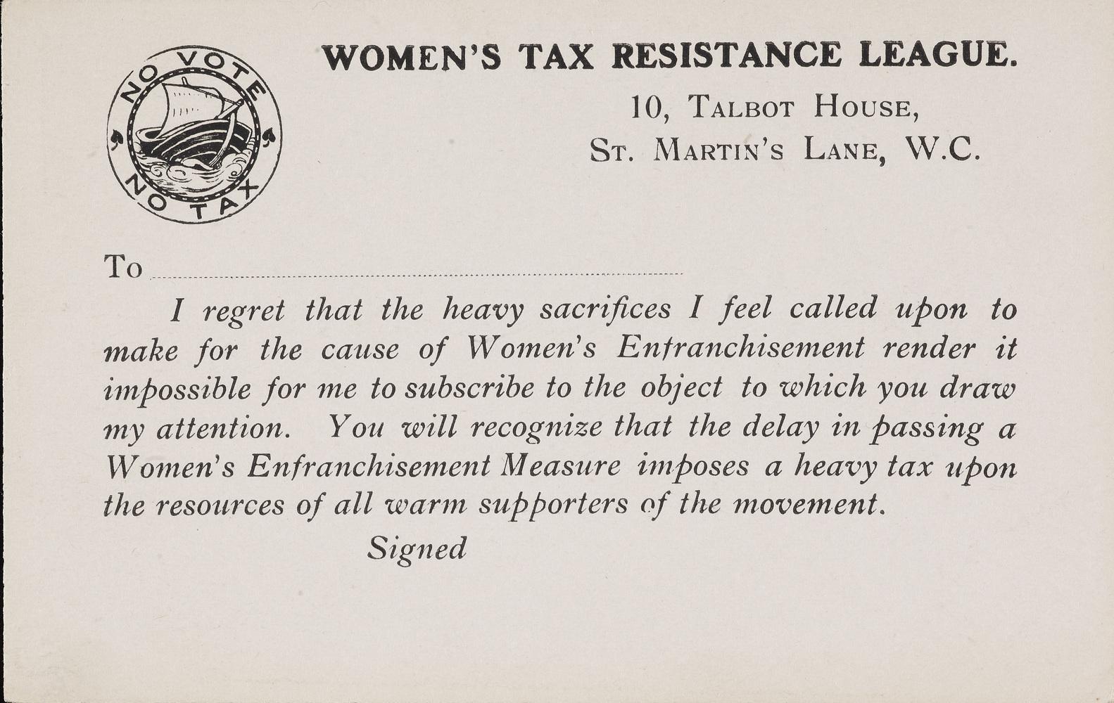 Postcard, Women's Tax Resistance League c. 1910
