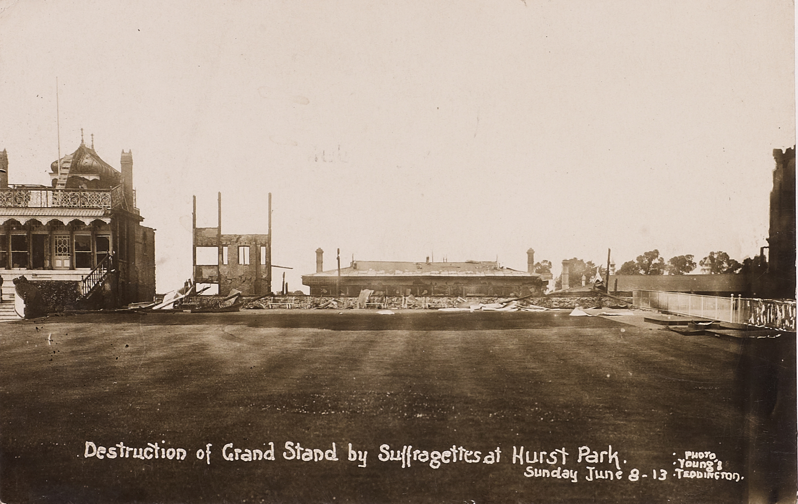 Postcard, Destruction of Grand Stand by Suffragettes at Hurst Park, Sunday 8 June 1913