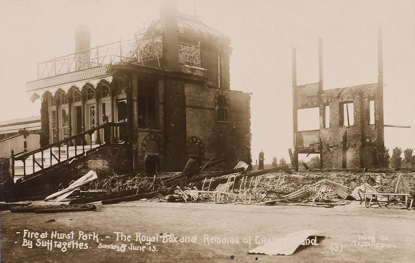Postcard, Fire at Hurst Park, the Royal Box and Remains of Grand Stand, by Suffragettes, Sunday 8 June 1913