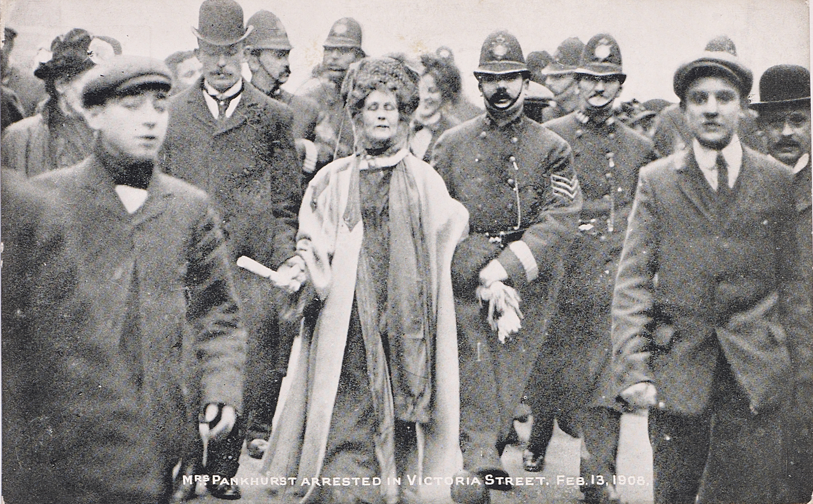 Postcard, Mrs Pankhurst arrested in Victoria Street, 13 February 1908