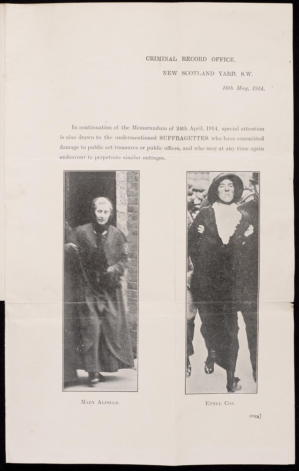 The Criminal Record Office Memorandum, 16 May 1914