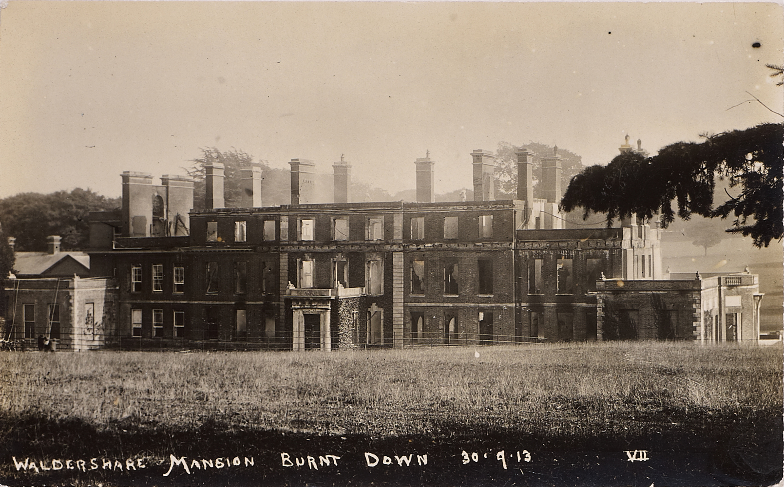 Postcard, Waldershare Mansion burnt down. 30 September 1913