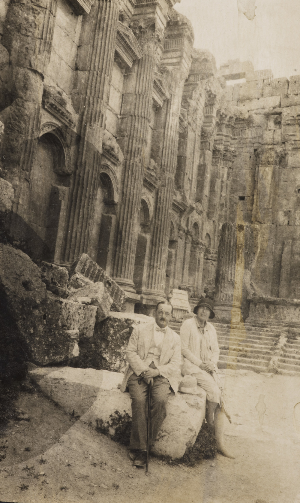 Stefana and Edwin Drower in the ruins of the Temple of Bacchus in Baalbek (Lebanon), c. 1920s