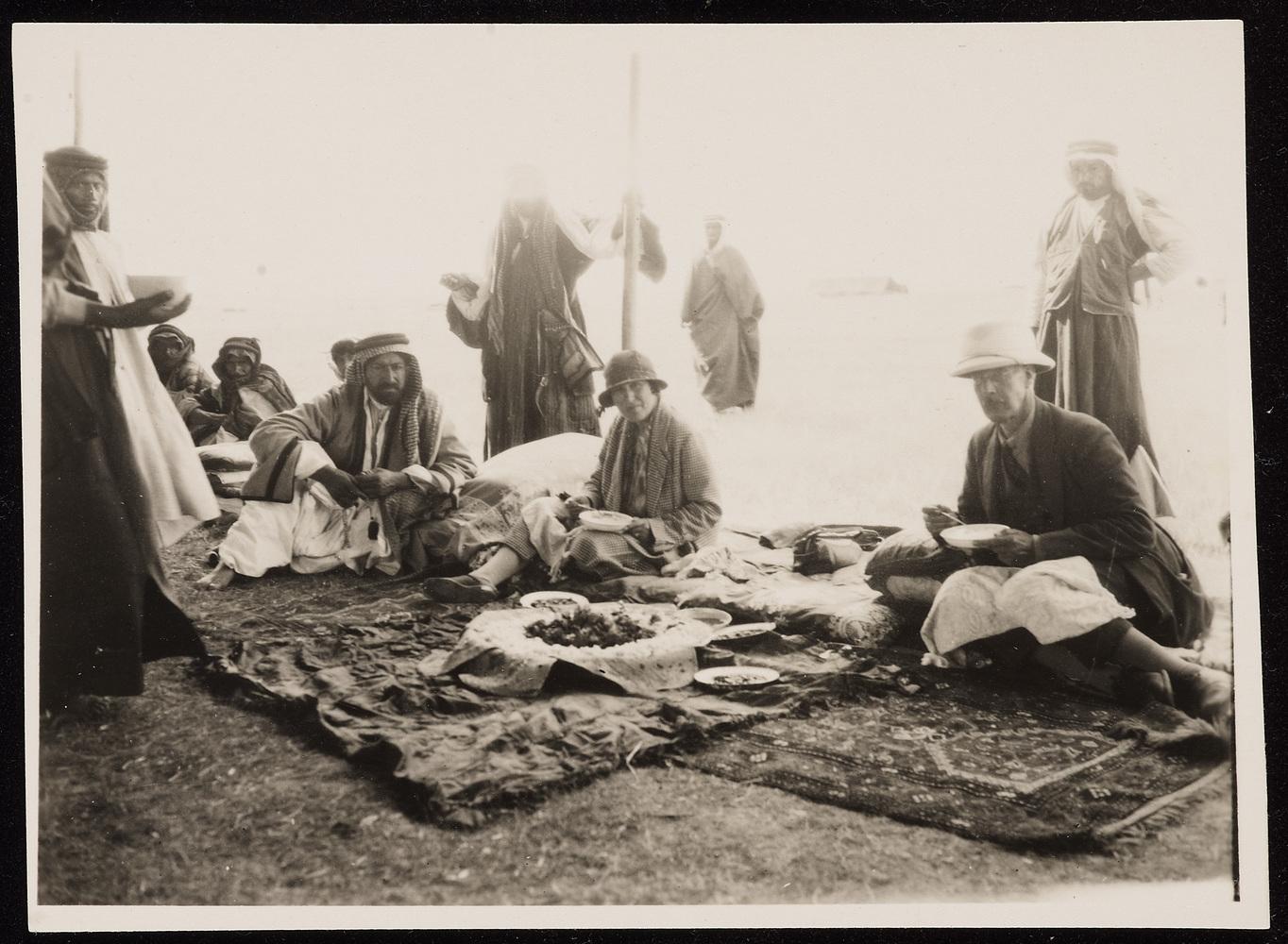 Stefana Drower with a Bedawi Sheikh, probably Shammar. Iraq, c. 1920s