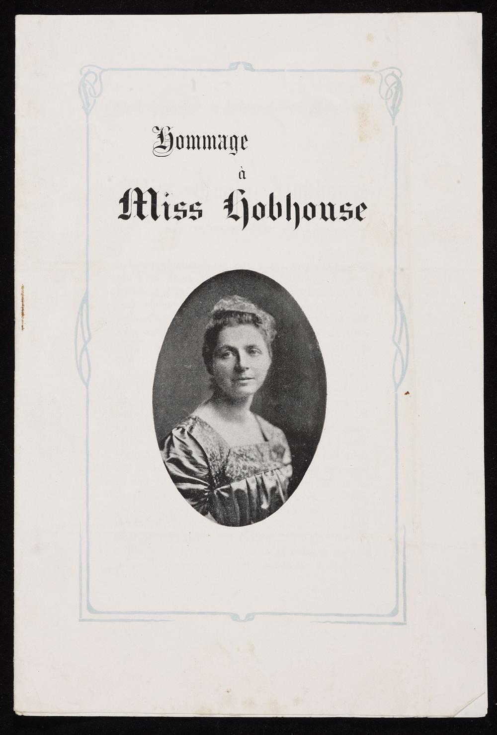 Pamphlet, Hommage à Miss Hobhouse